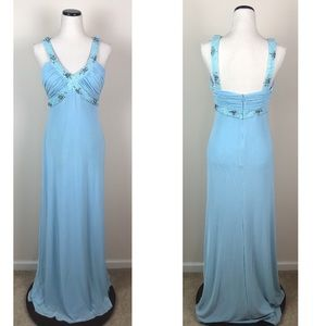 Jovani Beyond Blue Beaded Detail Pageant Gown